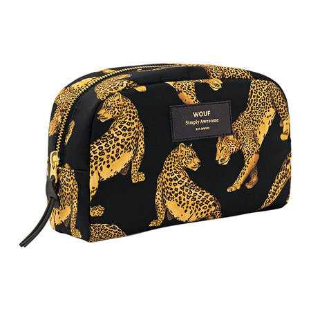 Wouf - Black Leopard Cosmetic Bag - Large