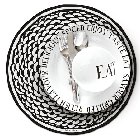 BEAUMONT - Cyclades Round Vinyl Placemat - Black/White
