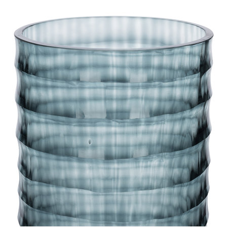 A by AMARA - Ribbed Glass Vase - Midnight Blue