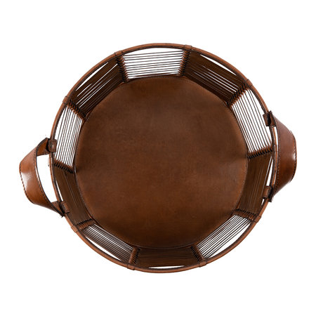 A by AMARA - Slotted Leather Basket - Tan