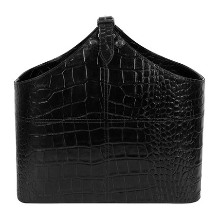 Luxe - Black Croc Leather Magazine Basket