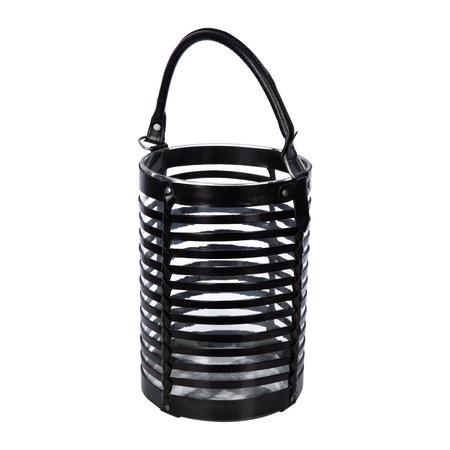 Global Explorer - Leather Caged Glass Hurricane - Black