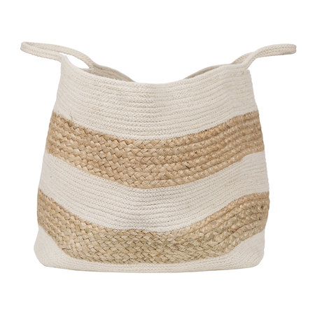 A by Amara - Knitted Jute Striped Basket - White/Natural