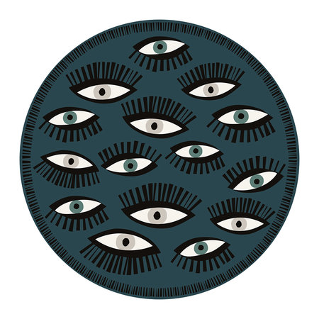 PODEVACHE - An Eye for An Eye Multi Round Vinyl Floor Mat - Teal