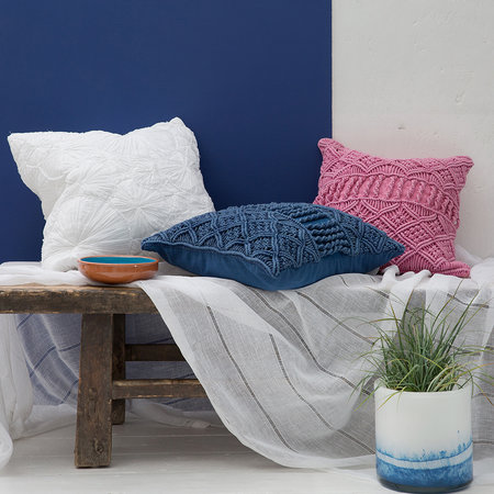 A by Amara - Grid Crochet Pillow - Blue - 45x45cm