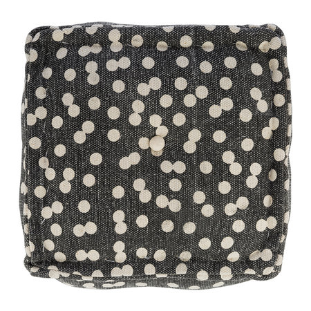 A by Amara - Spotted Cube Pouf - Navy/Natural