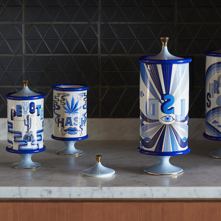 Jonathan Adler - Druggist Canister - Small - Multi Blue - Weed