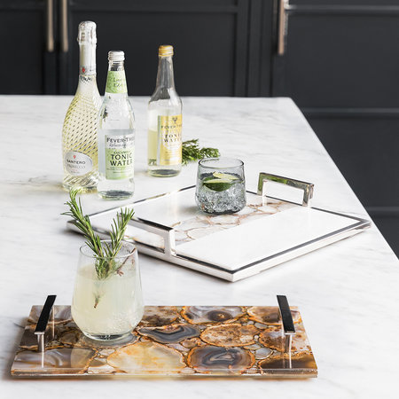 Luxe - Agate Stripe Tray with Handles