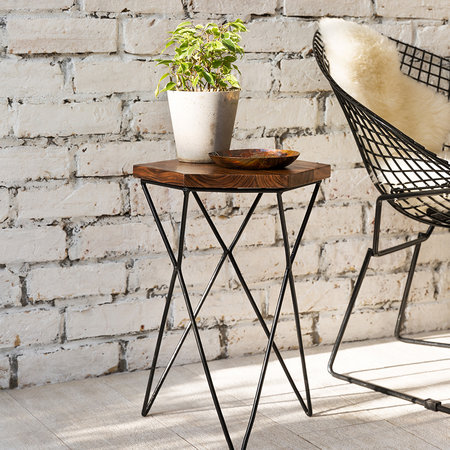 A by AMARA - Hexagon Wooden Side Table