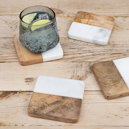 A by Amara - Marble & Wooden Coasters - Set of 4