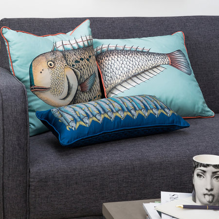 Fornasetti - Grande Pesce Silk Reversible Cushion - Set of Two - 45x45cm