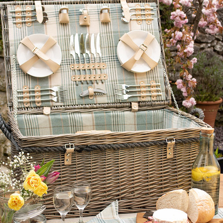 A by AMARA - 6 Person Deluxe Rope Handled Tartan Hamper - Duck Egg