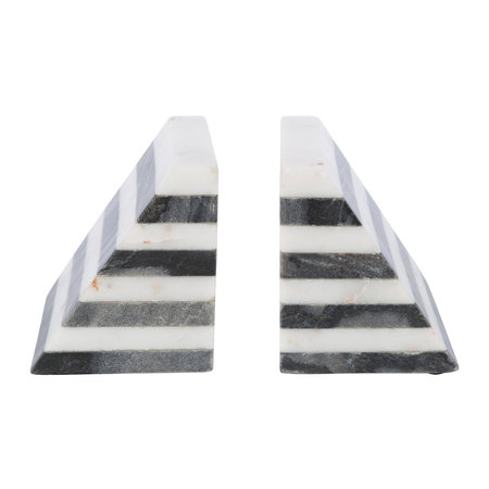A by AMARA - Black & White Striped Marble Bookends - Set of 2