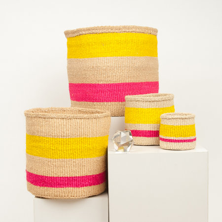 The Basket Room - Linear Fusion Mazao Hand Woven Basket - Pink/Yellow Stripe - L