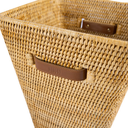 Baolgi - Square Waste Bin with Leather Handles - Natural