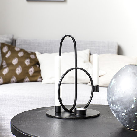 House Doctor - Cirque Candle Holder - Black - 30cm