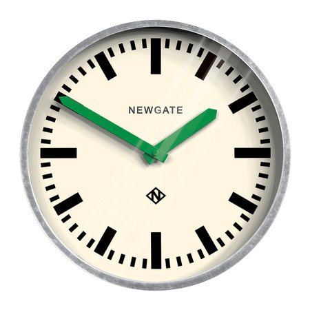Newgate Clocks - The Luggage Galvanized Wall Clock - Green Hands
