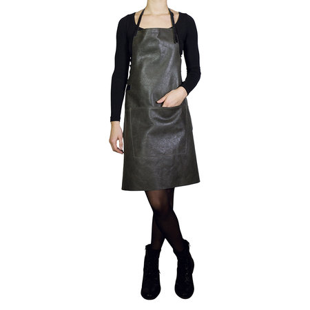 DutchDeluxes - BBQ Style Leather Apron - Vintage Grey/Black