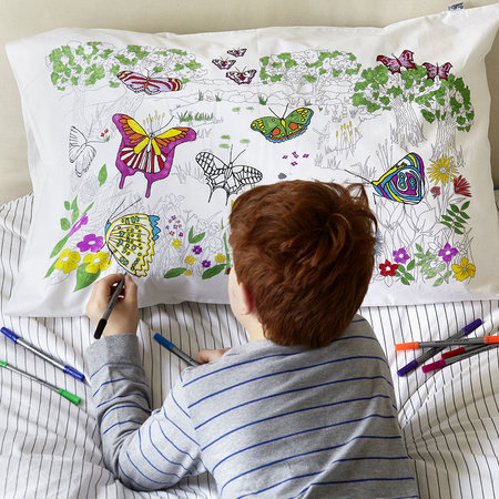 Eat Sleep Doodle - Butterfly Pillowcase - 75x50cm
