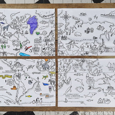 Eat Sleep Doodle - Set of 4 Placemats - World Map