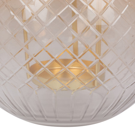 A by Amara - Amber Cut Glass Hanging Tealight Holder - Large