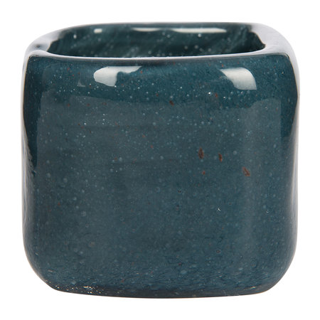 A by Amara - Bubbled Glass Tealight Holder - Indigo Blue