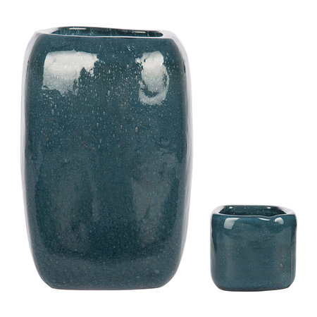 A by AMARA - Bubbled Glass Vase - Indigo Blue