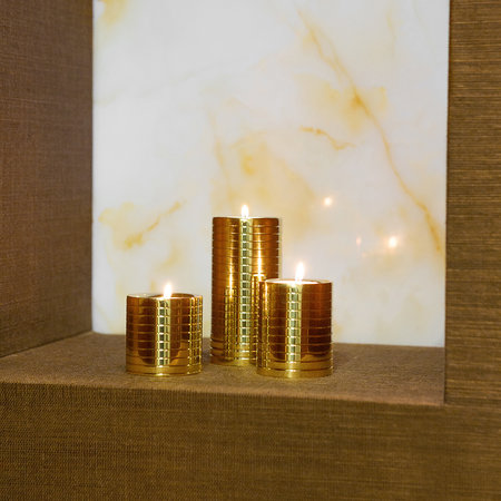A by Amara - Etched Golden Tealight Holders - Set of 3