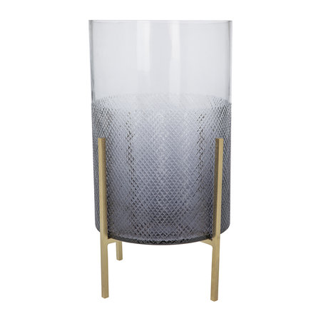Luxe - Grey Cut Glass Hurricane on Stand - Large