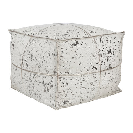 A by Amara - Acid Burnt Cowhide Pouf - Silver