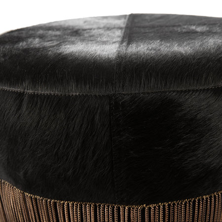 A by AMARA - Cowhide Chain Pouf - Black/Copper