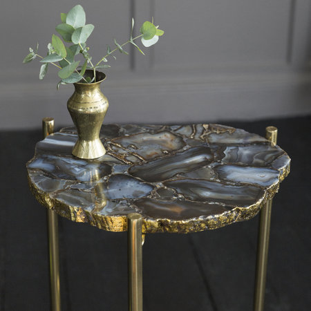 A by Amara - Agate Slab Side Table - Black