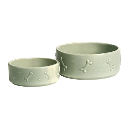Mutts & Hounds - Ceramic Dog Bowl - Sage Green - Large
