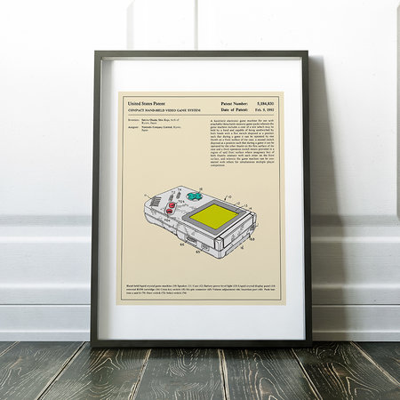 Monde Mosaic - Compact Video Game Patent Print - 40x50cm