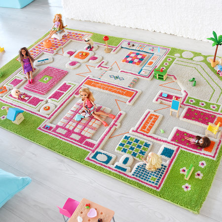 IVI World - Children's 3D Play Rug - Green Play House - 100x150cm