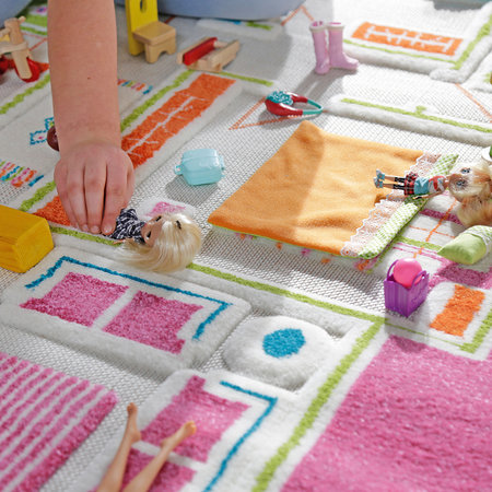 IVI World - Children's 3D Play Rug - Pink Play House - 100x150cm