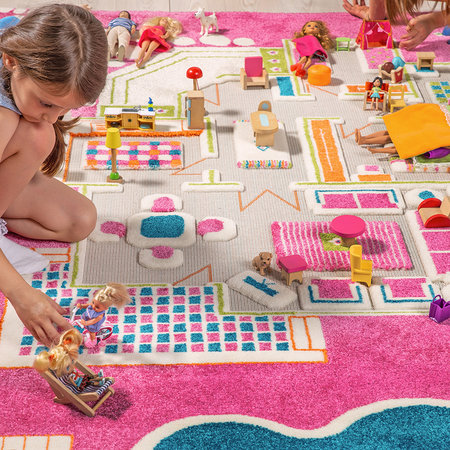 IVI World - Children's 3D Play Rug - Pink Play House - 134x200cm