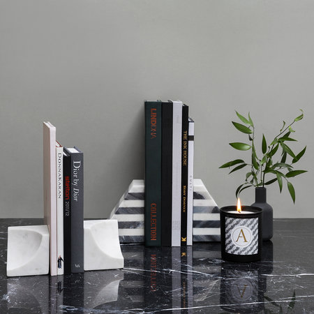 Luxe - Black & White Striped Marble Bookends - Set of 2