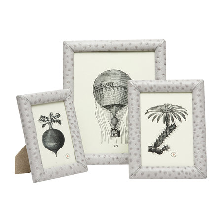 """Pigeon & Poodle - Witney Leather Frame - Light Gray - 4""""x6"""""""