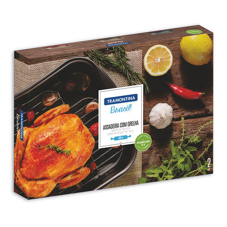 Tramontina - Brazil Roasting Pan and Stainless Steel Rack - Black