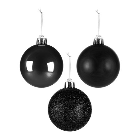 A by AMARA Christmas - Set of 30 Assorted Baubles - Black
