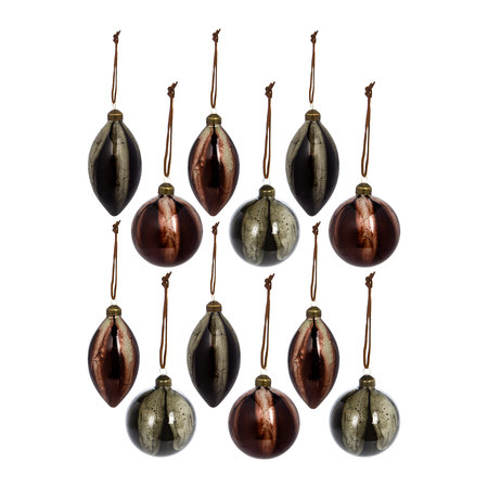 A by AMARA - Ball/Drop Bauble - Set of 12 - Olive/Rosewood