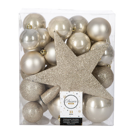 A by AMARA Christmas - Set of 33 Assorted Baubles and Tree Topper - Pearl