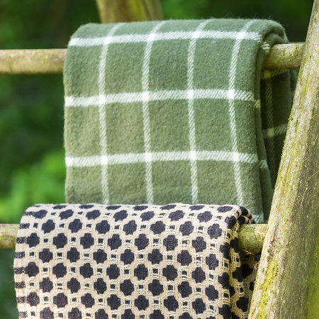 Tweedmill - Pure New Wool Checkered Throw - Olive