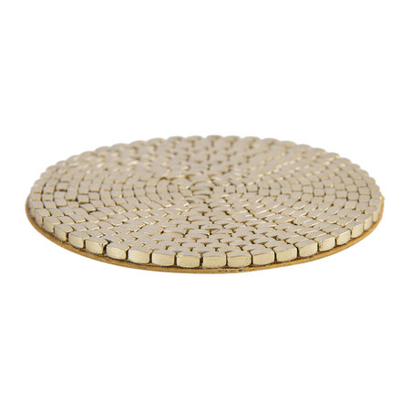 A by AMARA - Woven Beaded Coaster - Set of 4 - Gold