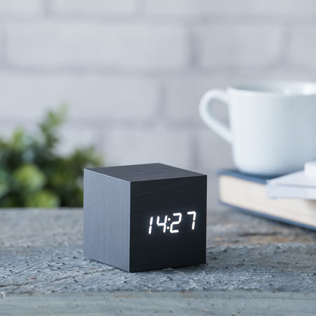 Gingko - Cube Click Clock - Black / White LED