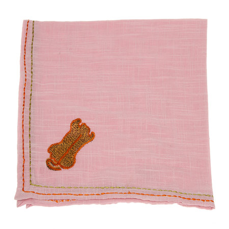 Lisa Corti - Cotton Napkin with Tiger Embroidery - Lilac