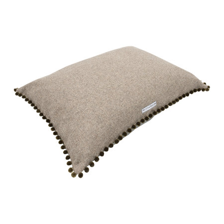 Mutts & Hounds - Tweed Pillow Bed With Pom Pom Trim - Gray/Olive - Large
