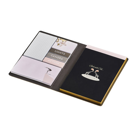 Ted Baker - A5 Notebook with Sticky Notes - Black Opal