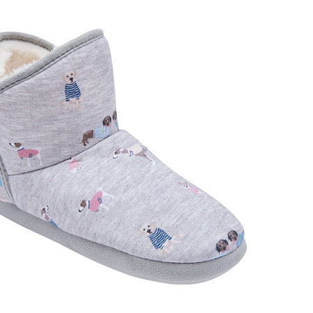 Joules - Cabin Bootie Slipper With Hard Sole- Grey Dogs